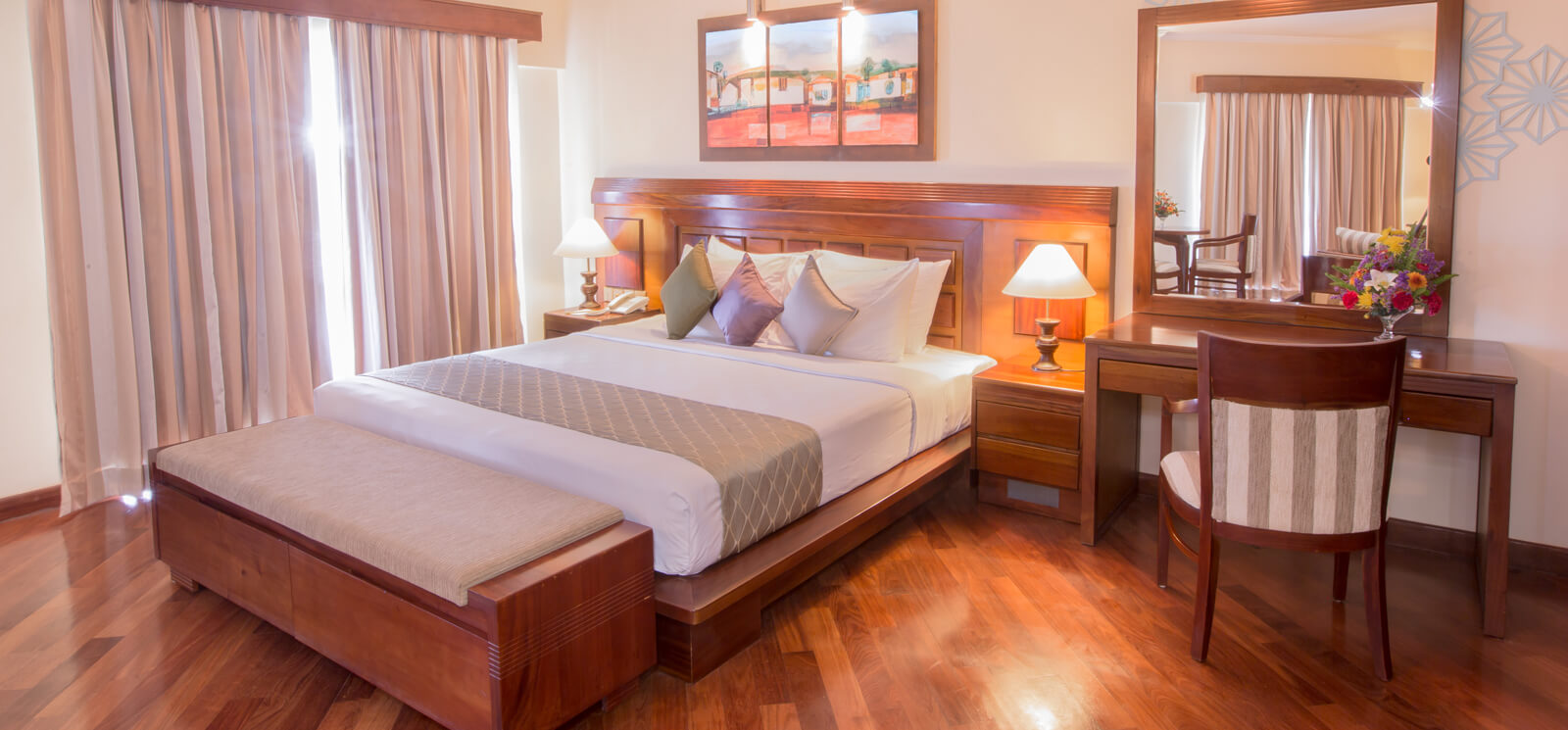 Comfortably appointed oceanfront suites at The Palms Hotel, Beruwala