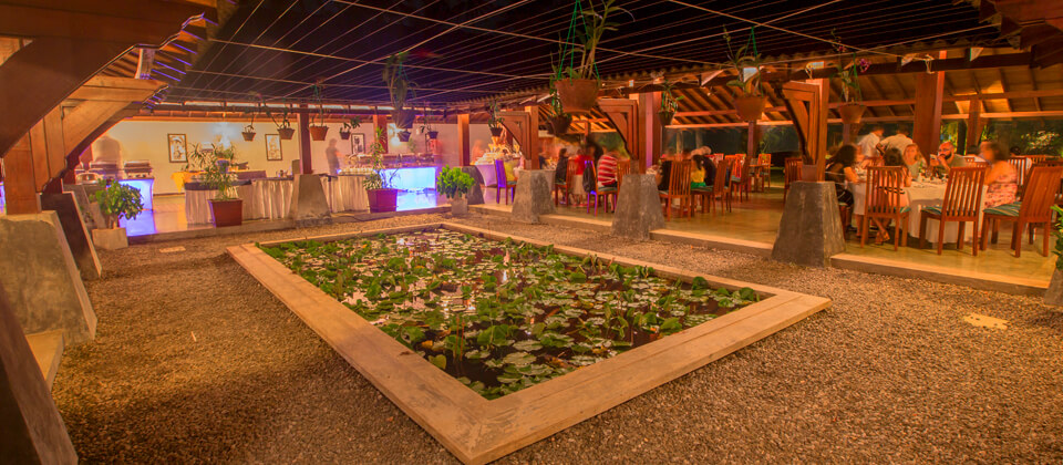 The open to nature main restaurant at The Palms Hotel, Beruwala