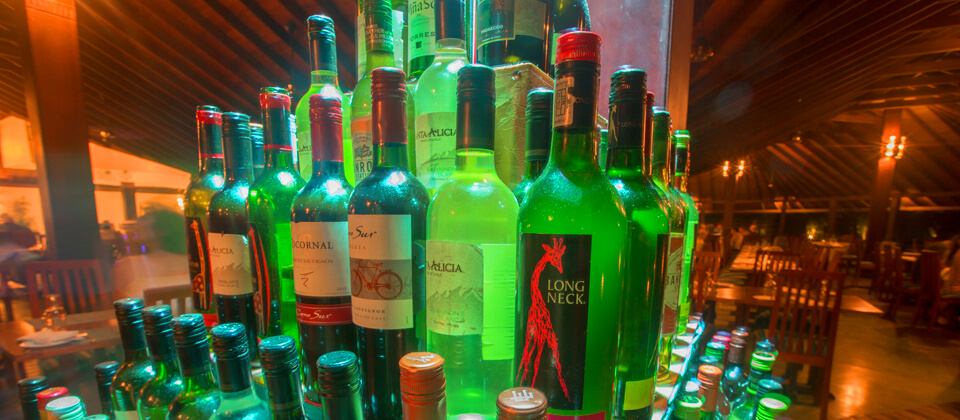 A collection of fine liquor and alcohol at The Golden Palms Restaurant, Beruwala