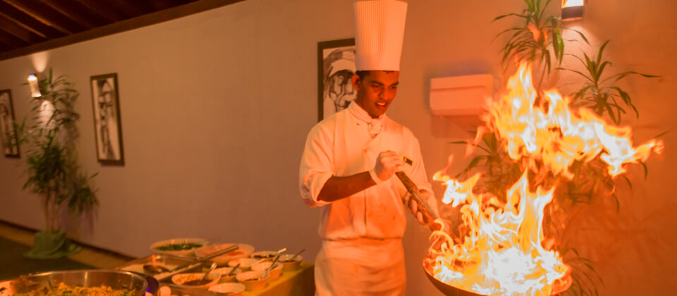 The theater kitchen at the Golden Palms Restaurant at Beruwala