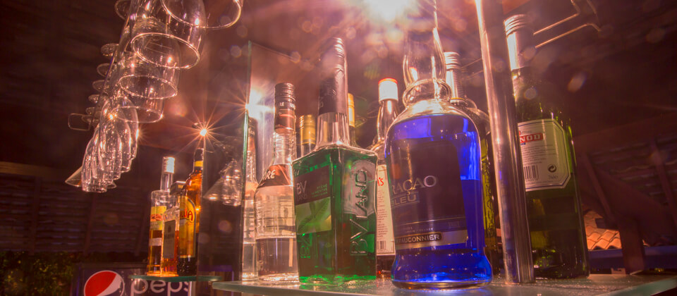 A collection of alcohol and liquor at the Pavilion Bar, Beruwala