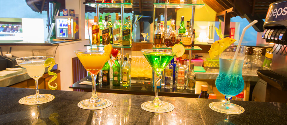 Exotic cocktails on offer at the Pavilion Bar at The Palms Hotel, Beruwala