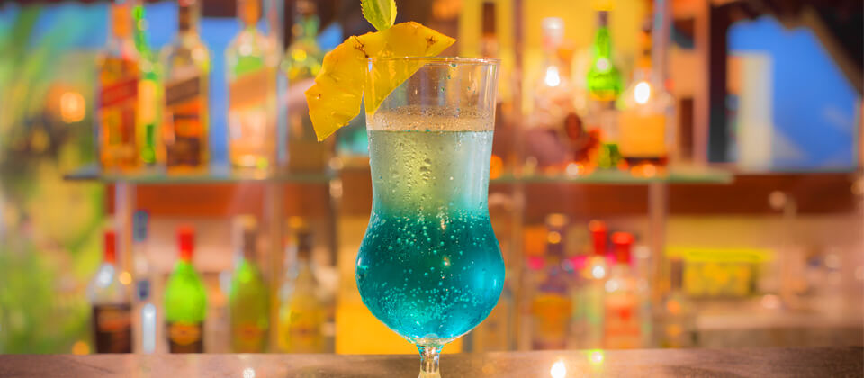 Blue Hawaiian served at the Pavilion Bar in Beruwala, Sri Lanka