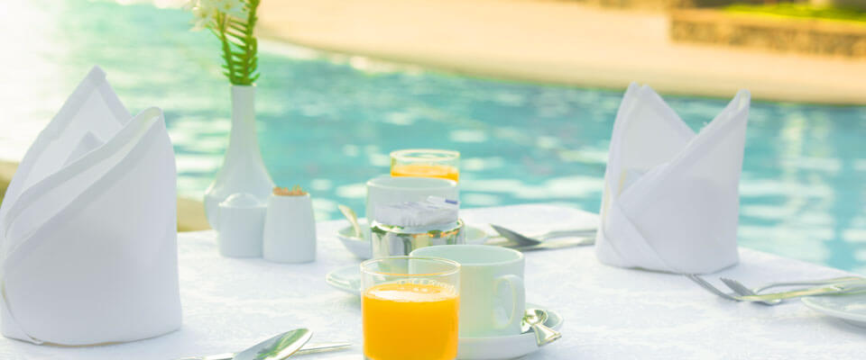 Breakfast by the pool at The Palms Hotel, Beruwala
