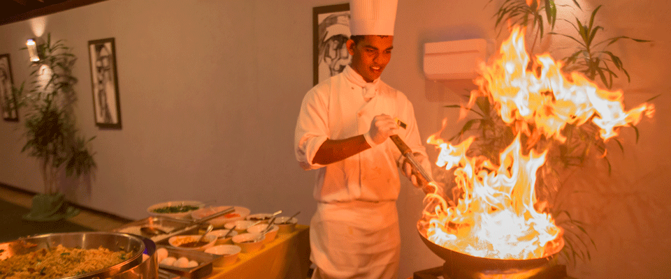 Exciting display of cooking