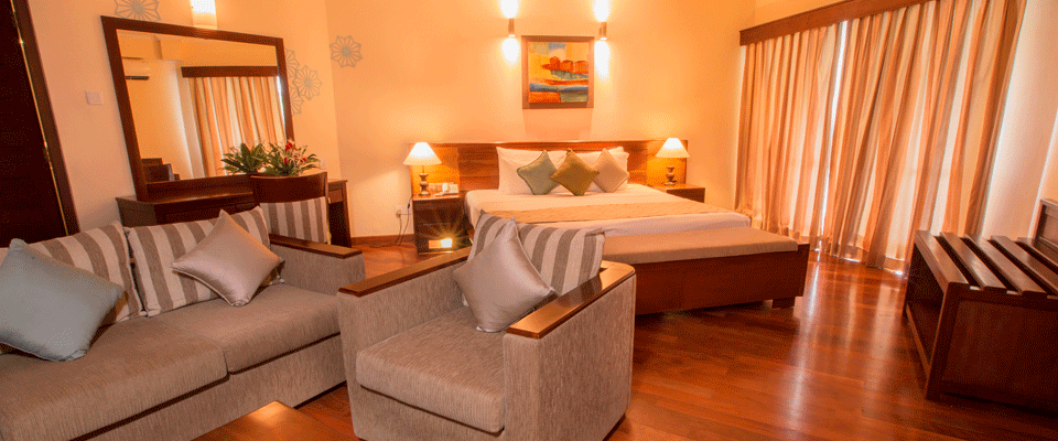 The seating area of the Garden View Suite Room